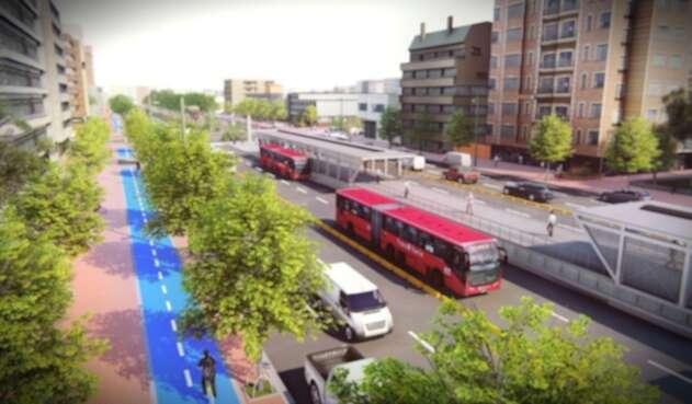 Proyección de cómo quedará el Transmilenio por la Avenida 68.