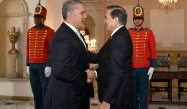 El presidente colombiano Iván Duque y su homólogo de Panamá, Laurentino Cortizo