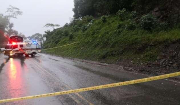 Derrumbe en la autopista Medellín-Bogotá.
