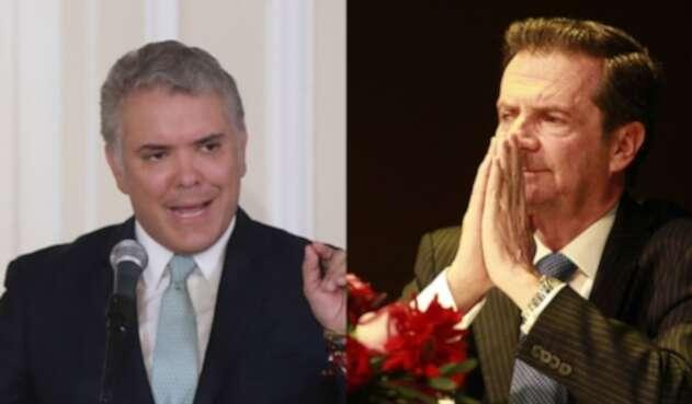 El presidente Iván Duque y el exministro Fernando Londoño.
