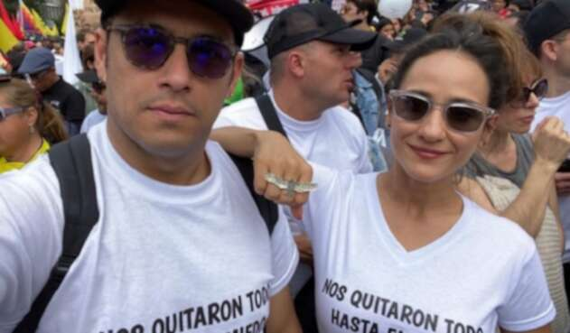 Santiago Alarcón y Chichila Navia en el paro nacional del 21 de noviembre