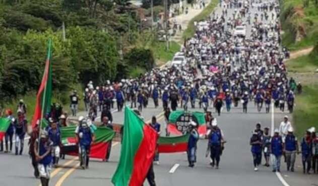 Indígenas marchan en Cauca
