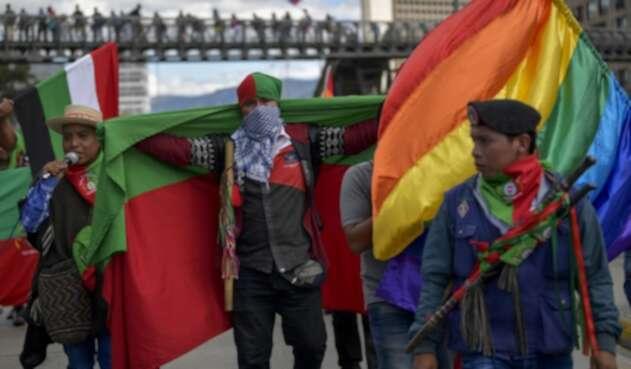 La guardia indígena participó en las marchas del paro nacional, de este 4 de diciembre.