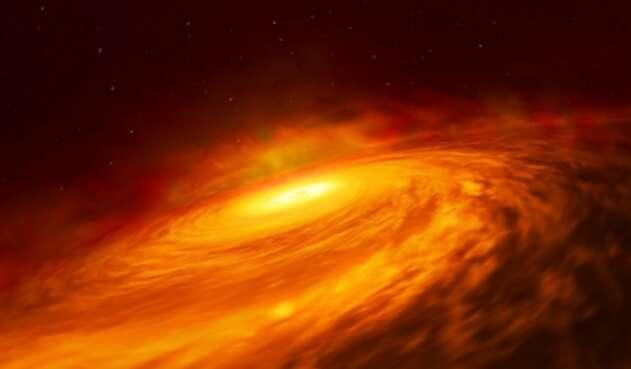 La masa es absorbida por un agujero negro