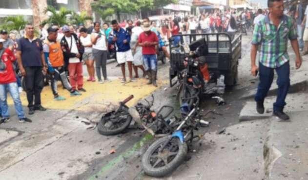 Los explosivos estaban ubicados en una motocicleta.