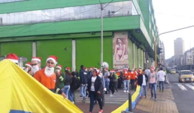 Protesta de comerciantes en el sector de San Victorino, por paro nacional