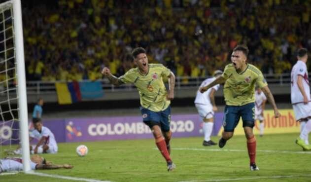 Jorge Carrascal celebra el gol contra Venezuela