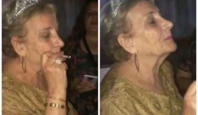 Abuela celebra sus ochenta años fumando marihuana