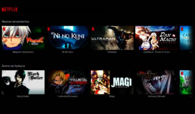 Oferta de anime en Netflix