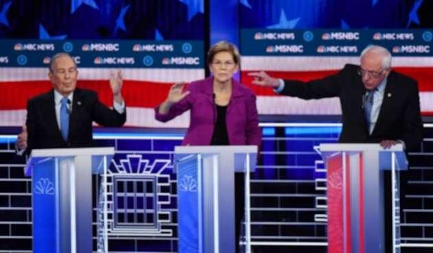 Michael Bloomberg, Elizabeth Warren y Bernie Sanders