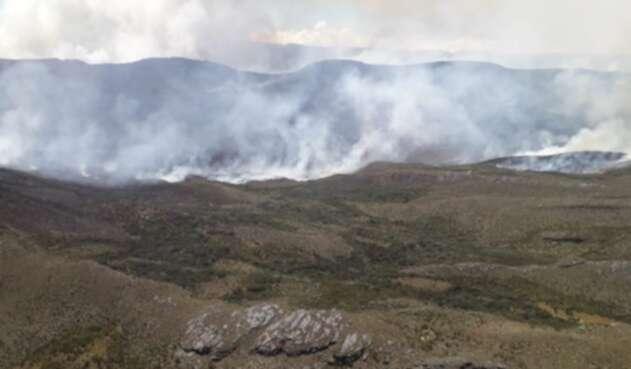 Incendio forestal en el páramo de Sumapaz