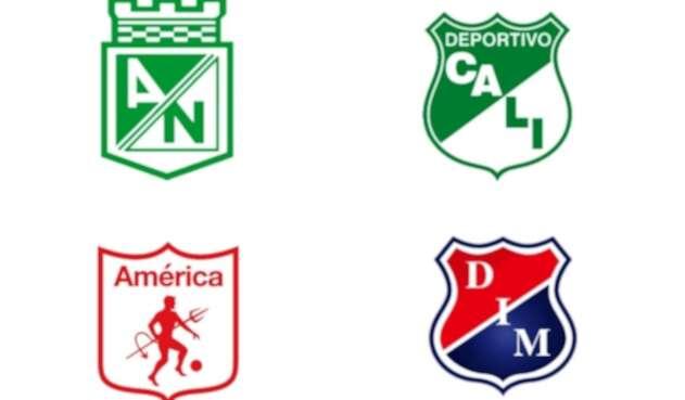 Escudos de Nacional, Cali, América y Medellín