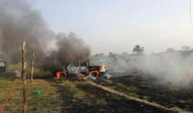 Explosión de automotor en Saravena
