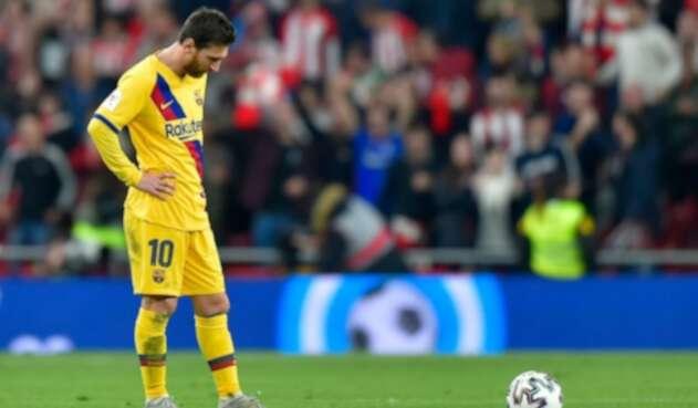 Lionel Messi en la derrota con el Athletic Bilbao