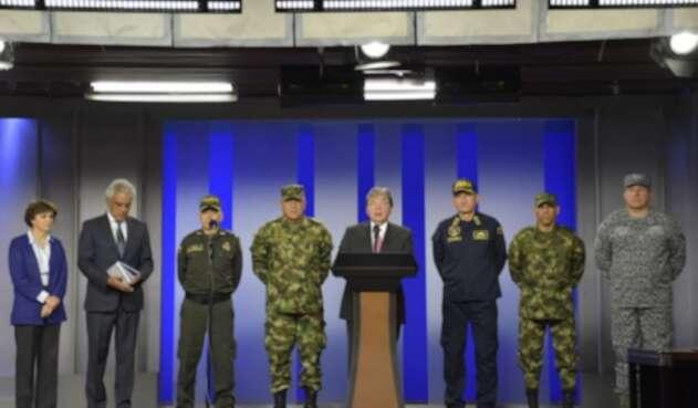 Gobierno y Fuerzas Militares en rueda de prensa por operativos en la Serranía de la Macarena