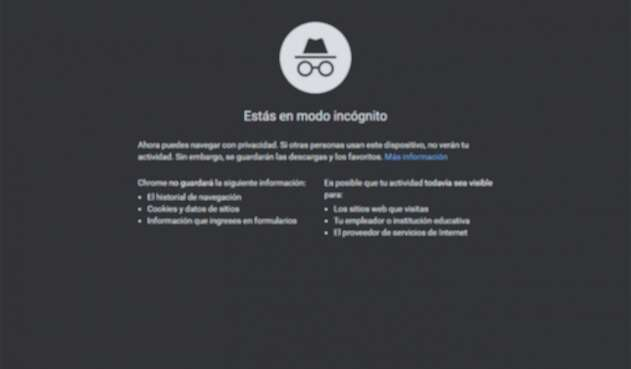 Modo incognito de Google Chrome