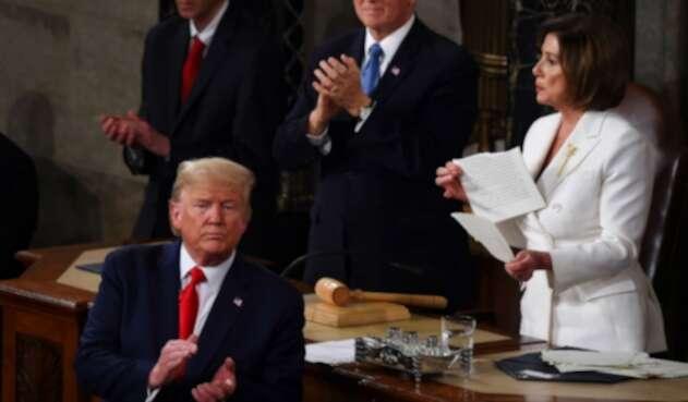 Nancy Pelosi rompió el discurso de Trump