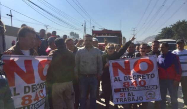 Protestas de conductores en el sur de Bogotá