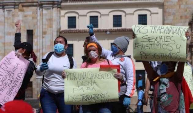 Protesta de trabajadoras sexuales en el centro de Bogotá