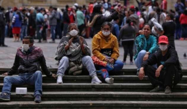 Protesta de migrantes venezolanos en Bogotá