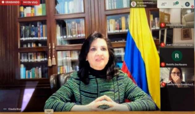 Canciller, Claudia Blum en sesión virtual con el Congreso de la República.