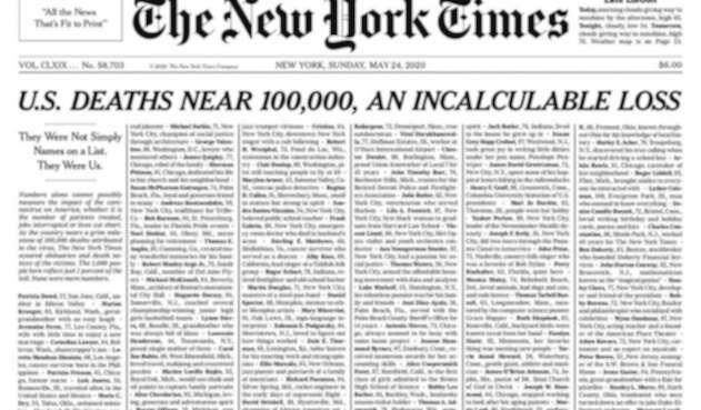 New York Times llena su portada de obituarios
