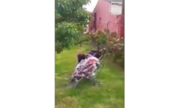 Agresión a una bebé en coche