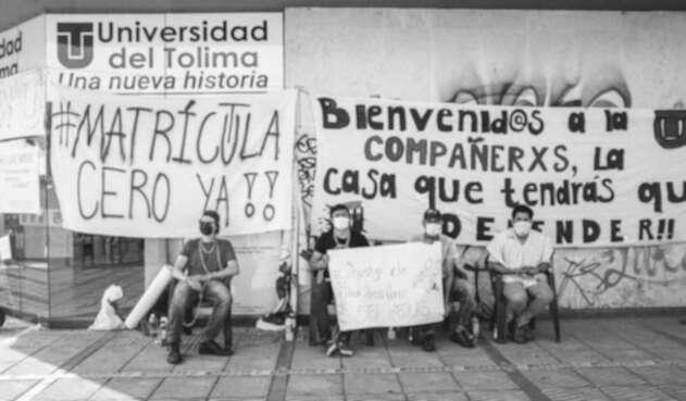 Huelga en sede Los Ocobos de la Universidad del Tolima.