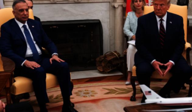 Donald Trump y primer ministro iraquí, Mustafá al Kazimi