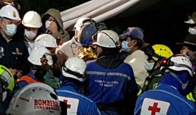 Mineros rescatados en Lenguazaque, Cundinamarca