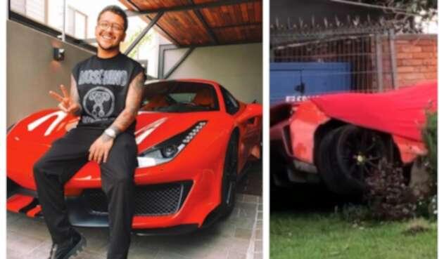 Ferrari de Christian Nodal se estrelló