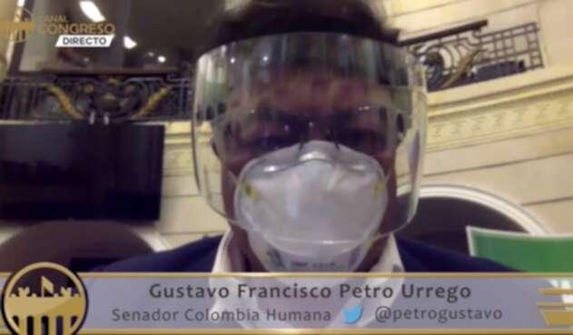Gustavo Petro en sesión virtual por pandemia
