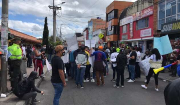 Protestas de comerciantes en Bogotá en la Autopista Norte