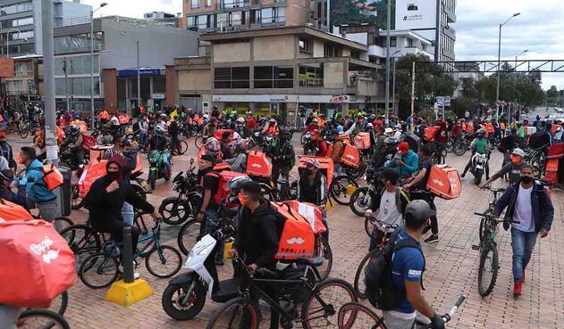 Protesta de rappitenderos en Bogotá