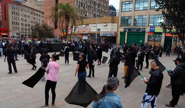 Comerciantes de San Victorino protestan