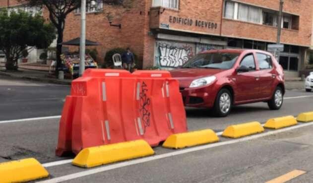 Separadores viales de los nuevos corredores para bicicletas