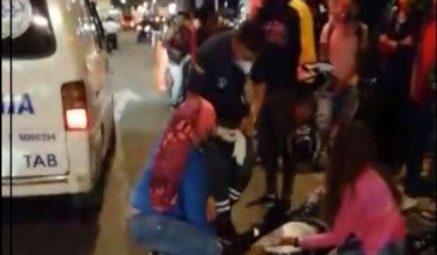 Accidente ciclista en Suba