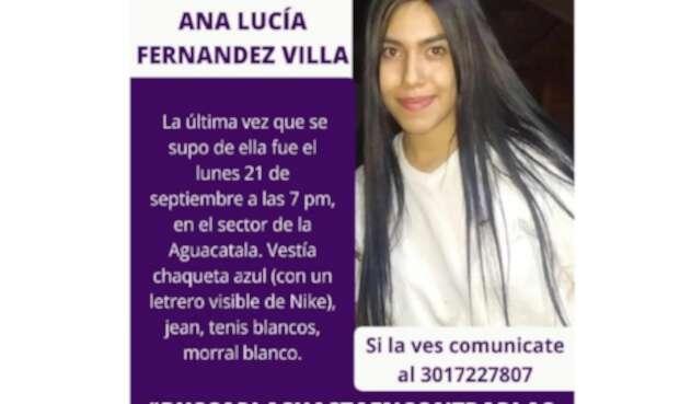 Ana Lucía Fernández, de 17 años de edad, perdida en Medellín