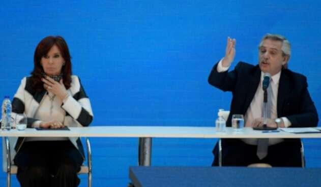 Cristina Fernández junto al presidente Alberto Fernández