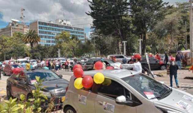 Caravana de protesta en Bogotá