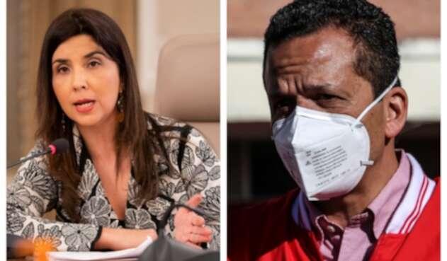 La ministra de Educación, María Victoria Angulo y el alcalde de Soacha, Juan Carlos Saldarriaga