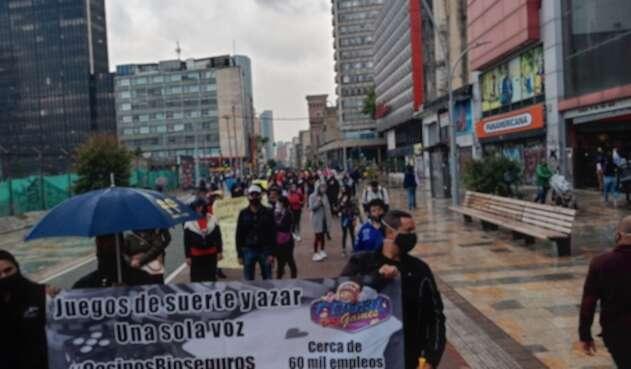 Protestas de trabajadores de casinos y bingos en Bogotá.