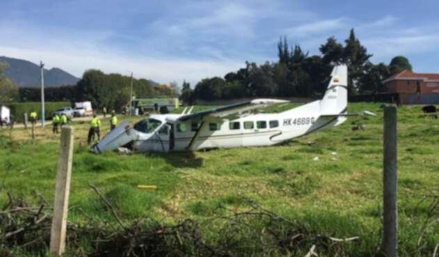 Avioneta accidentada en Bogotá