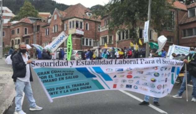 Protesta de médicos en Bogotá
