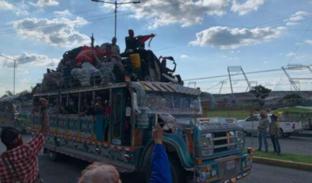 Minga indígena llega a la ciudad de Armenia
