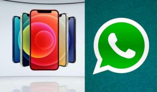 Iphone 12 con logo de WhatsApp