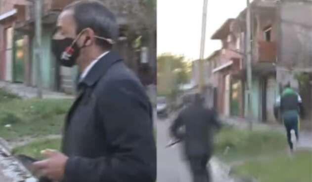 Periodista robado en vivo