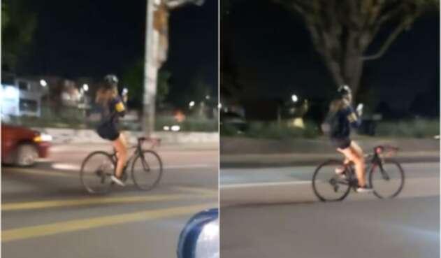 Ciclista conduce a alta velocidad mientras chatea en transitada vía de Bogotá