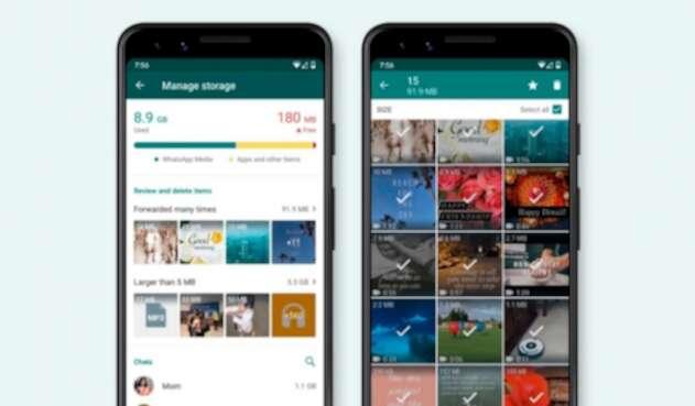WhatsApp opción de manejo de almacenamiento
