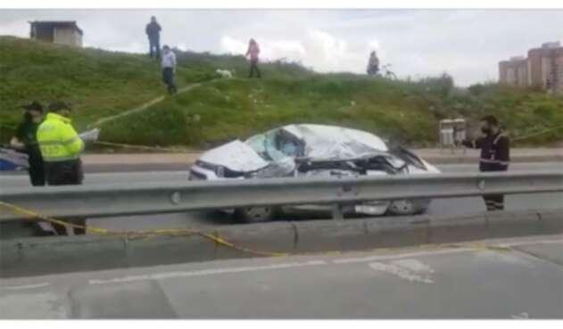 Accidente de carro en sur de Bogotá